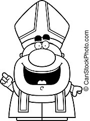 Cartoon Pope Idea - A cartoon illustration of a pope with an...