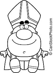 Cartoon Pope Sitting - A cartoon illustration of a pope...