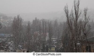 Snowing over city on dreary day - Snowing over city suburb...