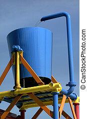 Water Bucket - Blue color water bucket in an amusement park