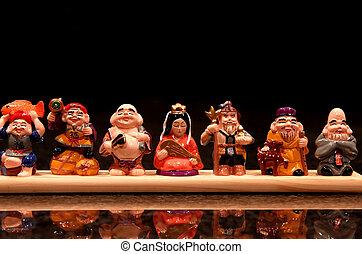 Japanese Idols - Colorful many Japanese wooden carved idols...