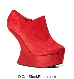 High heels shoes with platform in wedges style, red nubuck...