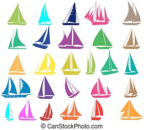 A set of silhouettes of yachts