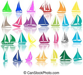 A set of silhouettes of yachts - A set of vector silhouettes...