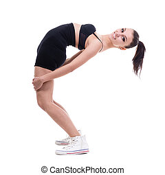 woman gymnast, isolated on white - studio shoot of cute...