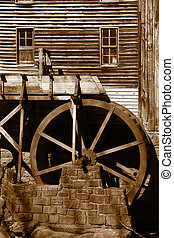 Rustic Wheel On Water Mill - Glade creek grist mill in...