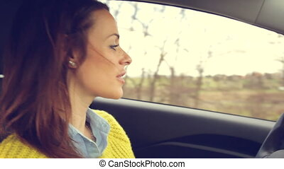 woman driving car retro style - Happy fresh cute woman...