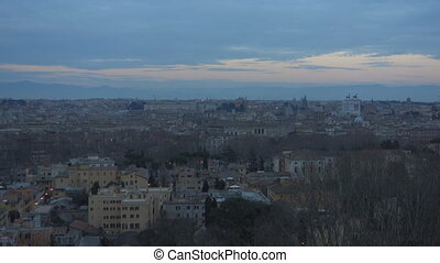 Rome at dusk - Rome cityscape at dusk from the Janiculum...