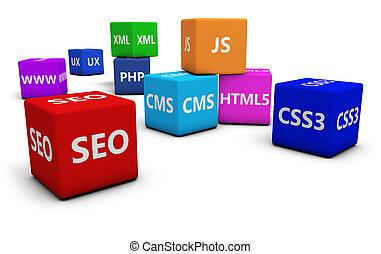 web, design, und, Seo,