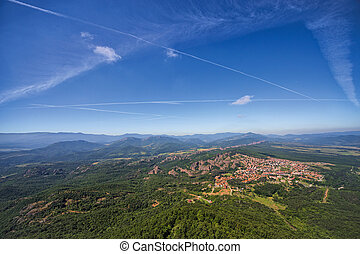 Panoramic view from high above the town of Belogradchik and...
