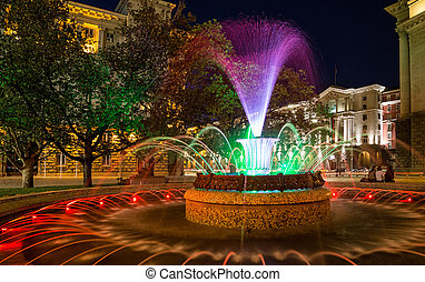 Colored fountain in Sofia, Bulgaria - Colored fountain in...