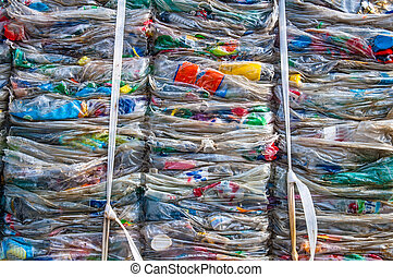 Plastic waste details - Details of a plastic waste stack in...