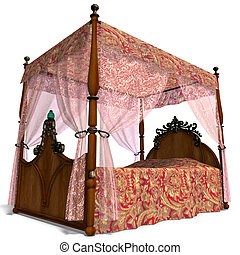 canopy bed of louis XV. - 3D rendering of the canopy bed of...