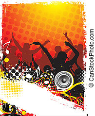 music theme - A crowd of party people with music concept