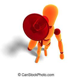 orange / red  manikin announcing something