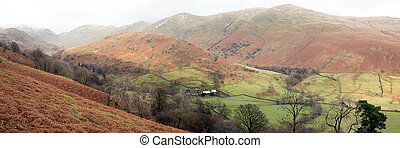 Lakeland panorama - A mid-winter panoramic view of Troutbeck...