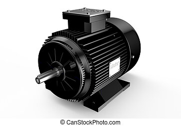 Industrial black electric motor isolated on white background...