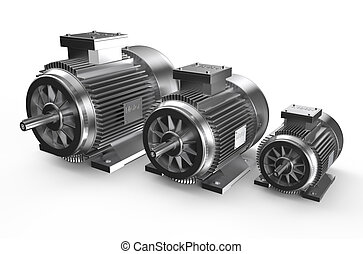 Industrial electric motors  isolated on white background