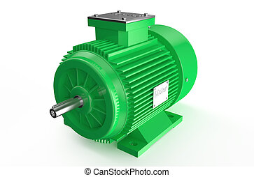 Industrial green electric motor isolated on white background...