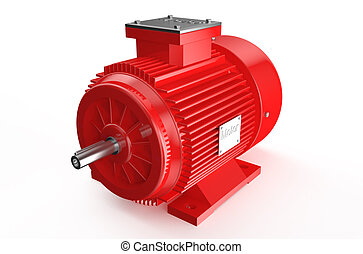 Industrial red electric motor isolated on white background