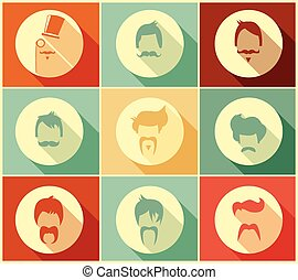 Collection of hipster retro hair styles and mustaches,...