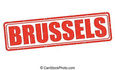 Brussels stamp - Brussels grunge rubber stamp on white...