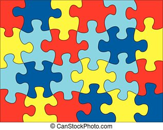 Puzzle Pieces in Autism Awareness Colors Background...