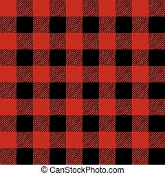Tiled Red and Black Flannel Pattern Illustration - A flannel...