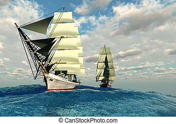SEAWAY - Two tall clipper ships navigate the rough waters of...