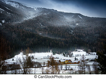 snowstorm over Austrian Alps grown with forest - Landscape...