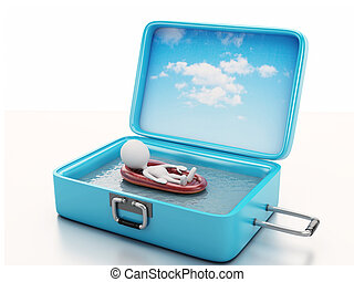 3d white people in a travel suitcase. beach vacation