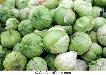 fresh organic tomatillo at the market place
