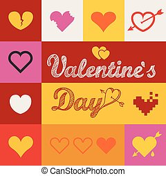Different abstract heart icons collection Valentine greeting...