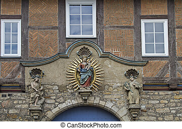 Virgin Mary statue in Hildesheim - The old city of...