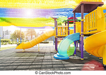 Colorful playground at park - The colorful playground for...