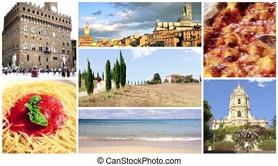 Italy, Food and Beauty - Food and drink montage including...