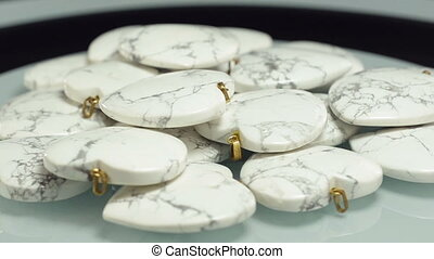 White howlite stone hearts - White howlite hearts are...