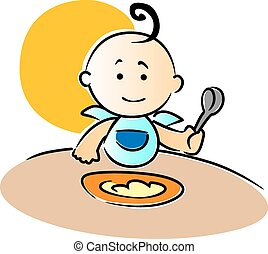 Cute little baby sitting eating food - Cute little baby...