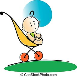 Cute little baby sitting in a stroller - Cute cartoon little...
