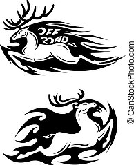 Leaping speeding deer Off Road vector icon with large...