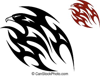 Tribal bird tattoo - Flying eagle, hawk or falcon bird in...
