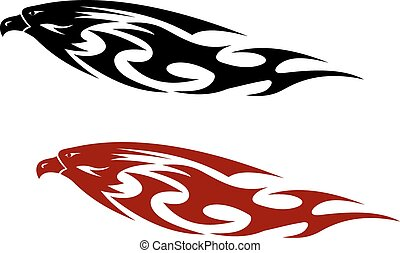 Stylized patterned predator bird with a fierce hooked beak...