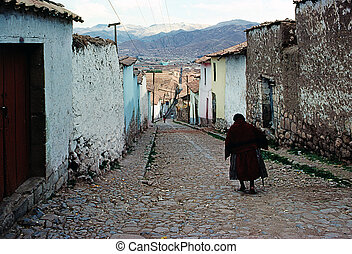 Cusco - Street in Cusco with people, Peru