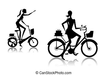 Women - The woman going on a bicycle with purchases from...