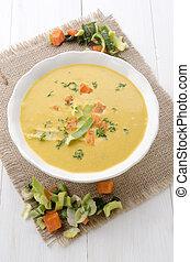蔬菜, 湯, 碗, 含奶油