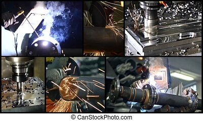 Industrial details - Metalworking. Collage including milling...