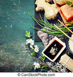 Asian food background (thaditional sushi ingredients)