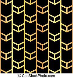art deco golden seamless pattern - vector illustration of...