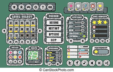 game gui 13 - Complete set of graphical user interface (GUI)...