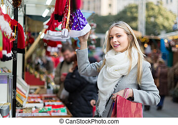 Beautiful woman at Christmas market - Long-haired blonde...